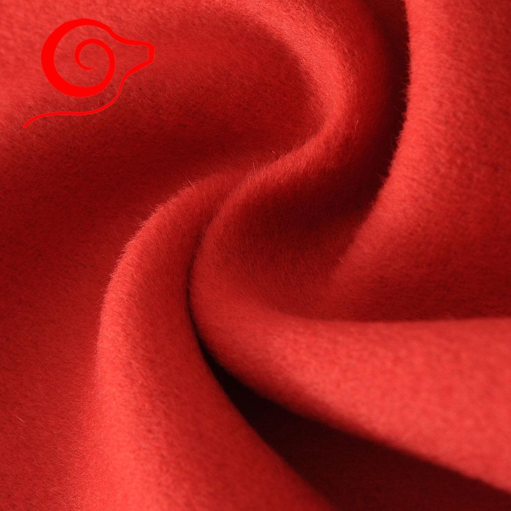 双面大衣呢面料 桔红全羊毛毛呢布料