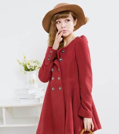 2012冬季新款日系女装加长呢子大衣外套