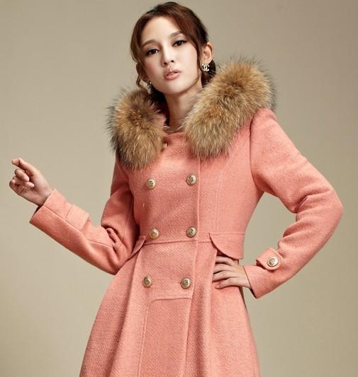 俪亨2012冬装新款双排扣毛领呢大衣外套