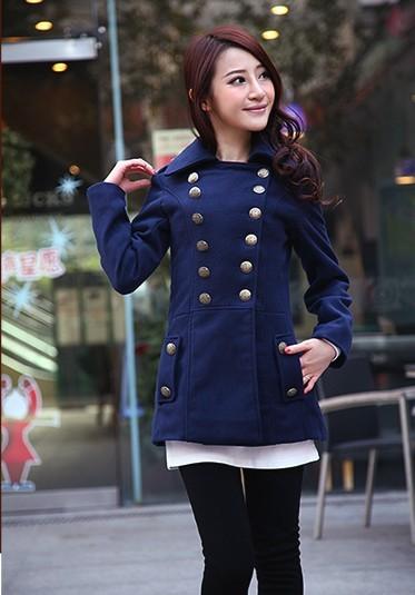 2012冬装新品韩版修身毛呢大衣外套