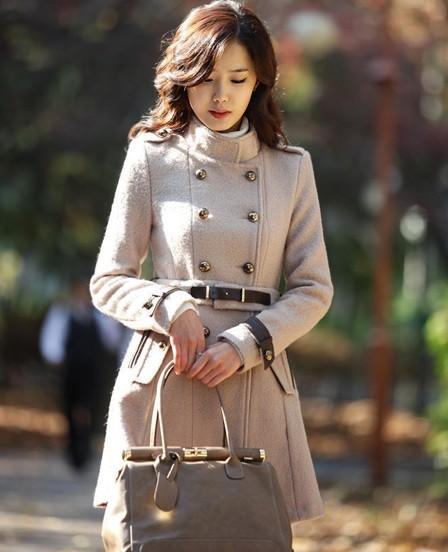 衣路香随韩版修身中长款狐狸毛领羊毛呢大衣外套