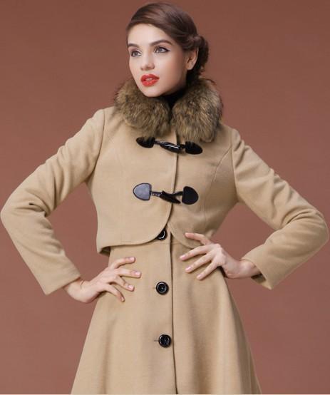 卓欧2012冬装新款带毛领毛呢大衣外套