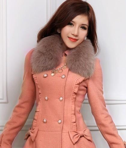 2012冬双排扣30%羊毛呢子大衣外套